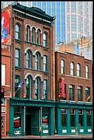 Old brick buildings and modern high rise buildings, Broadway. Nashville, Tennessee, USA ( color)
