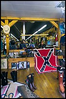 Boots and confederate flag in store. Nashville, Tennessee, USA