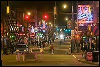 Beale Street at night. Memphis, Tennessee, USA ( color)