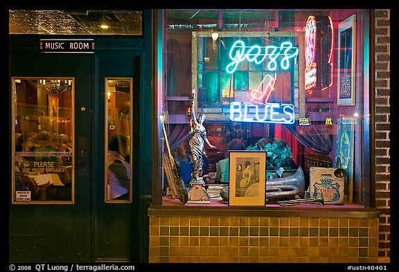Storefront of bar with Jazz and Blues life performances. Memphis, Tennessee, USA (color)