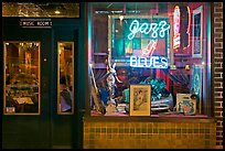 Storefront of bar with Jazz and Blues life performances. Memphis, Tennessee, USA ( color)