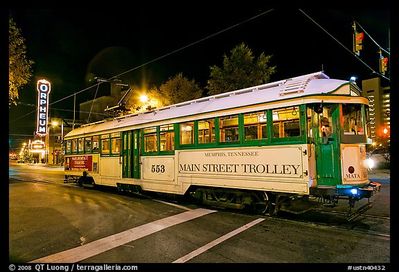 Main Street Trolley by night. Memphis, Tennessee, USA (color)