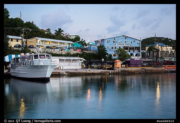 National Park Service harbor at dusk, Cruz Bay. Saint John, US Virgin Islands (color)