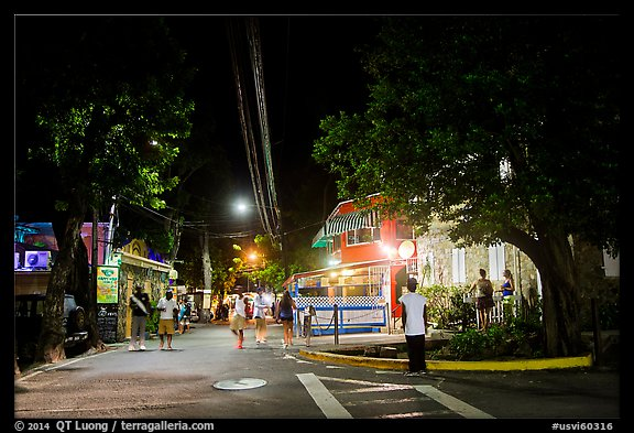 Street at night, Cruz Bay. Saint John, US Virgin Islands (color)