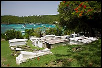 Cemetery overlooking harbor, Cruz Bay. Saint John, US Virgin Islands ( color)