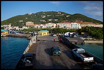 Car barge arriving at Red Hook harbor. Saint Thomas, US Virgin Islands ( color)