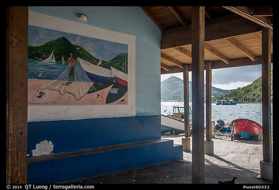 Mural decor and Hassel Island. Saint Thomas, US Virgin Islands (color)