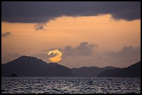 Sun setting over St Thomas island. Saint John, US Virgin Islands ( color)