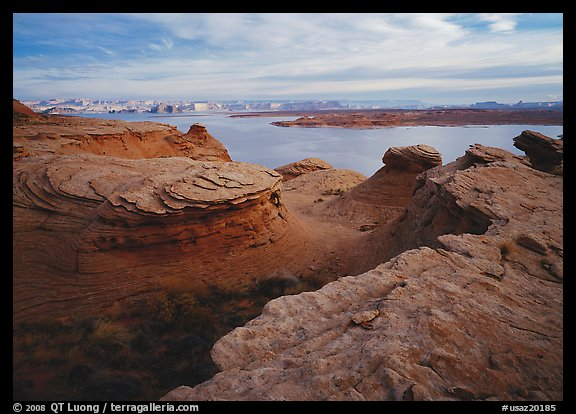 Sandstone swirls and Lake Powell. USA (color)