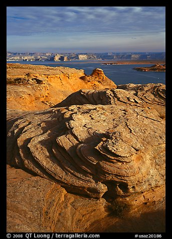 Rock Swirls and Lake Powell, Glenn Canyon National Recreation Area, morning. USA (color)