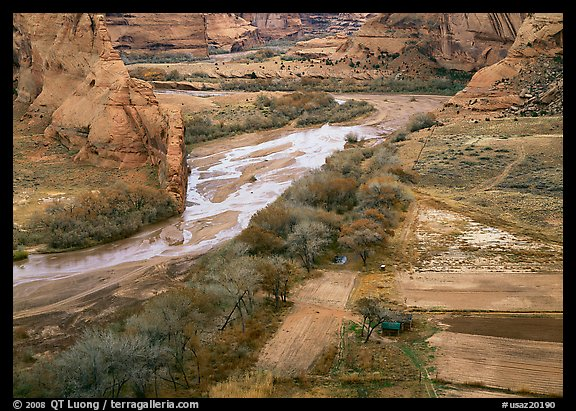 Farm on the valley floor of Canyon de Chelly. Canyon de Chelly  National Monument, Arizona, USA (color)