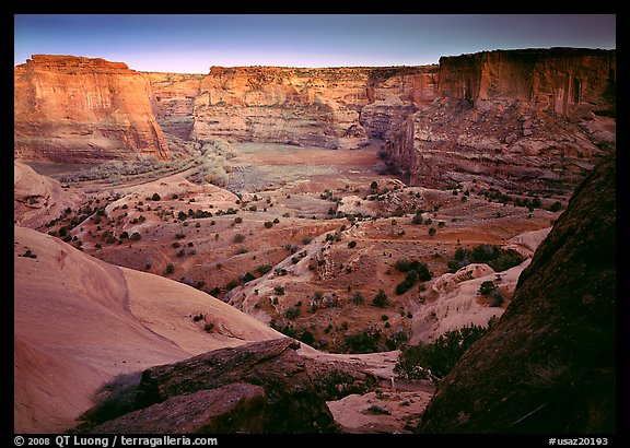 Canyon at dusk. Canyon de Chelly  National Monument, Arizona, USA (color)