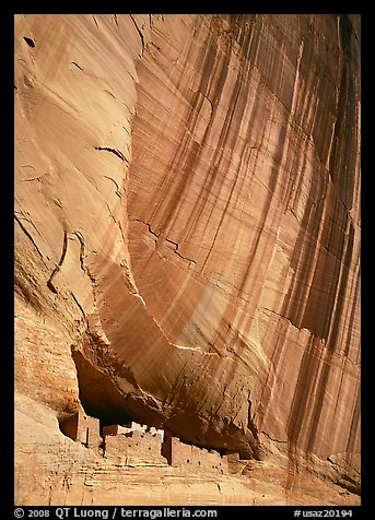 White House Ancestral Pueblan ruins and wall with desert varnish. Canyon de Chelly  National Monument, Arizona, USA (color)