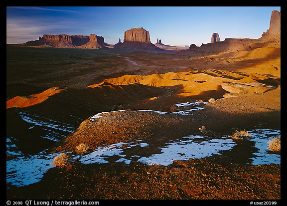 View from Ford point, late afternoon. Monument Valley Tribal Park, Navajo Nation, Arizona and Utah, USA (color)