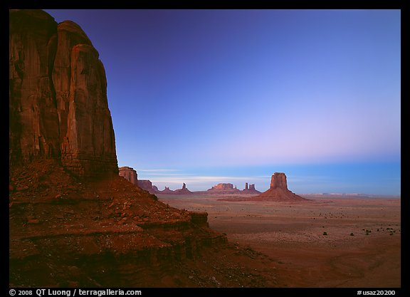 View from North Window at dusk. Monument Valley Tribal Park, Navajo Nation, Arizona and Utah, USA (color)