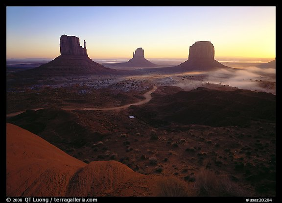 Mittens, sunrise. Monument Valley Tribal Park, Navajo Nation, Arizona and Utah, USA
