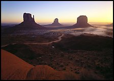 Mittens, sunrise. Monument Valley Tribal Park, Navajo Nation, Arizona and Utah, USA (color)