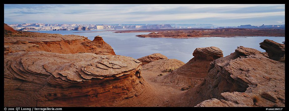 Lake Powell scenery with swirls in foreground, Glen Canyon National Recreation Area, Arizona. USA (color)