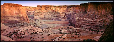 Canyon scenery at dusk. Canyon de Chelly  National Monument, Arizona, USA (Panoramic color)