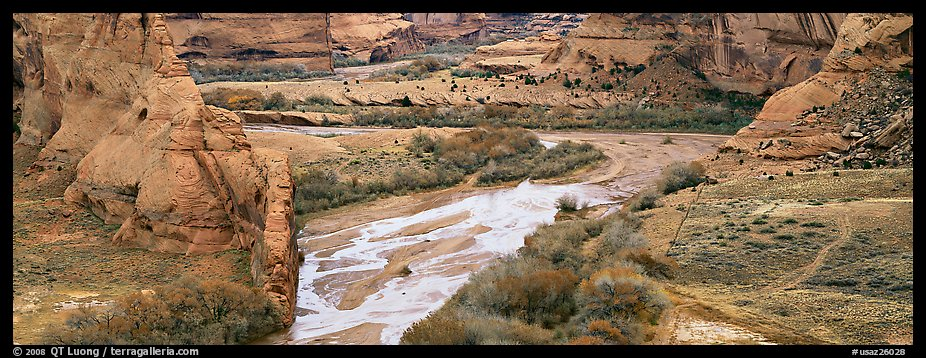 Canyon landscape with cultivated fields. Canyon de Chelly  National Monument, Arizona, USA (color)