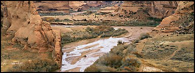 Canyon landscape with cultivated fields. Canyon de Chelly  National Monument, Arizona, USA (Panoramic color)