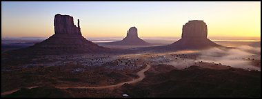 Monument Valley landscape at sunrise. Monument Valley Tribal Park, Navajo Nation, Arizona and Utah, USA