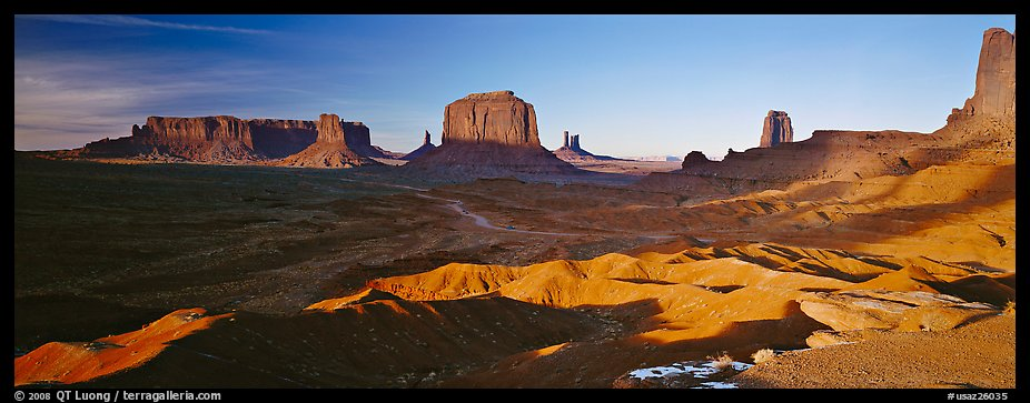 Monument Valley late afternoon scenery with shadows. Monument Valley Tribal Park, Navajo Nation, Arizona and Utah, USA (color)