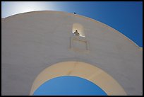 Backlit whitewashed arch, San Xavier del Bac Mission. Tucson, Arizona, USA (color)