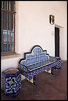 Ceramic bench in the courtyard, San Xavier del Bac Mission. Tucson, Arizona, USA (color)
