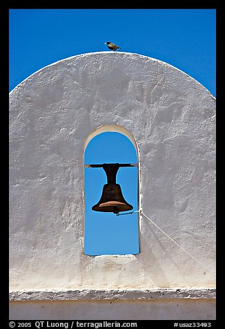 Bell, San Xavier del Bac Mission (the White Dove of the Desert). Tucson, Arizona, USA (color)