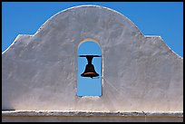 Bell and whitewashed wall, San Xavier del Bac Mission. Tucson, Arizona, USA (color)