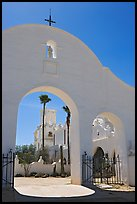 Arches and North Court, San Xavier del Bac Mission. Tucson, Arizona, USA (color)