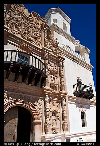 Facade and tower, San Xavier del Bac Mission. Tucson, Arizona, USA (color)