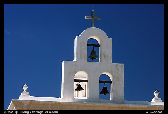 Bell tower, San Xavier del Bac Mission. Tucson, Arizona, USA (color)