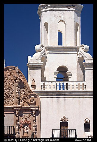 Facade detail and tower, San Xavier del Bac Mission. Tucson, Arizona, USA