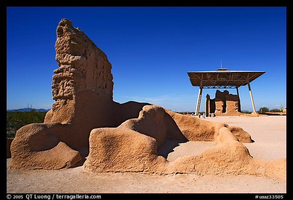 Hohokam ruins and the Great House, Casa Grande Ruins National Monument. Arizona, USA (color)