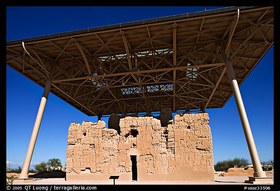 Prehistoric Big House, Casa Grande Ruins National Monument. Arizona, USA (color)