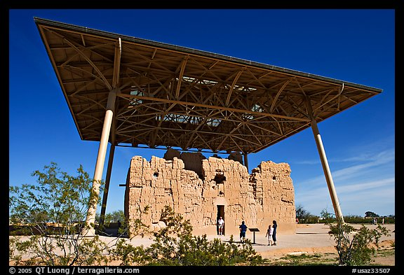 Hohokam house, Casa Grande Ruins National Monument. Arizona, USA