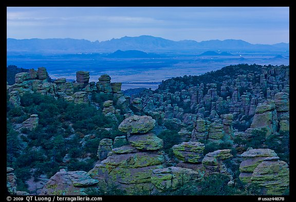 Spires at dusk from from Massai Point. Chiricahua National Monument, Arizona, USA