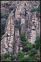 Cliff eroded into stone pillars. Chiricahua National Monument, Arizona, USA ( color)