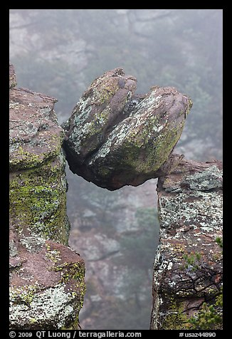 Spherical boulder stuck between pillars. Chiricahua National Monument, Arizona, USA