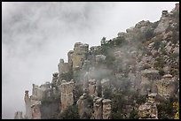 Rock pillars and fog. Chiricahua National Monument, Arizona, USA