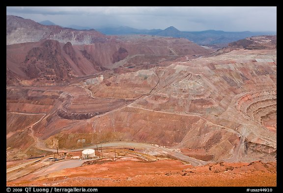 Open pit copper mining, Morenci. Arizona, USA (color)