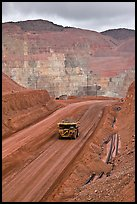 Truck with ore in copper mine, Morenci. Arizona, USA (color)
