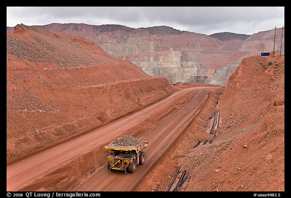 Truck with copper ore in open pit Morenci mine. Arizona, USA (color)