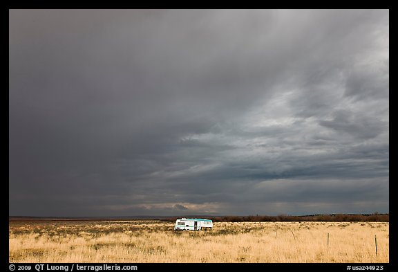 Trailer and storm sky. Arizona, USA (color)