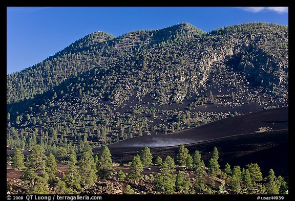 Cinder-covered slopes, Sunset Crater Volcano National Monument. Arizona, USA (color)