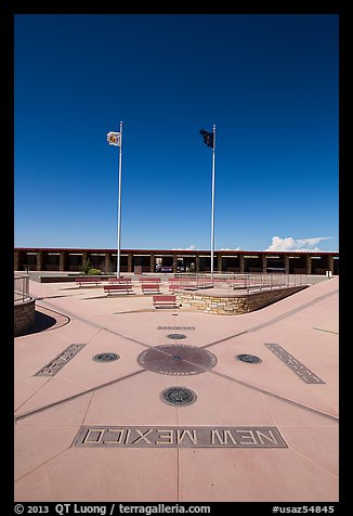 Disks, seals, and flags. Four Corners Monument, Arizona, USA (color)