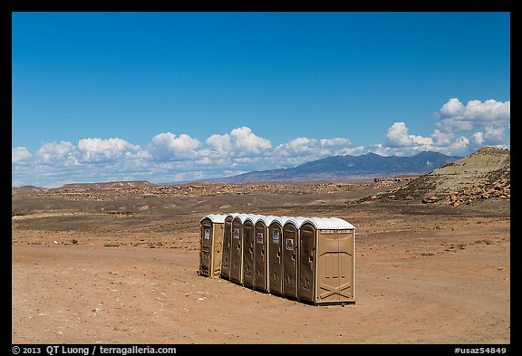Portable toilets in desert. Four Corners Monument, Arizona, USA (color)