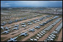 Aerial view of retired military aircraft. Tucson, Arizona, USA ( color)